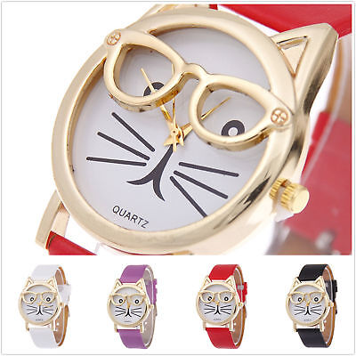 Women Cute Cat Glasses Casual Watches Girl Leather Analog Quartz Wrist Watch