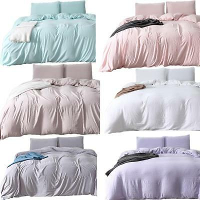 3PCS Fresh Flower Print/solid Color Washed Cotton Quilt Bed Cover Pillow Case
