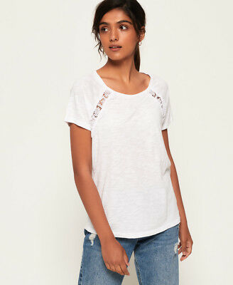 New Womens Superdry Elizabeth Lace T-Shirt Rodeo White
