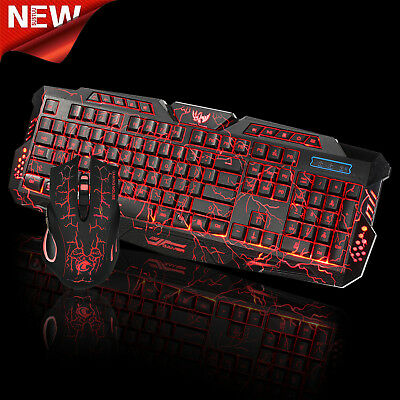 LED Gaming Wired 2.4G Keyboard And Mouse Set For Computer Multimedia Gamer