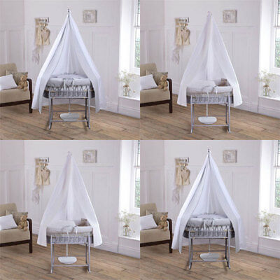 Clair de Lune Soft Waffle 6 Piece Grey Wicker Moses Basket & Drape Starter Set