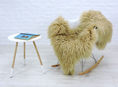 Genuine Icelandic Sheepskin Rug Curly Hair Beige Colour Mongolian Style   #B01