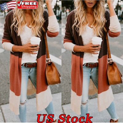 Women Autumn Knitted Cardigan Open Front Long Sleeve Splice Sweater Tops Coat US