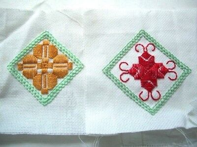 Needlepoint - 2 x Finished squares, ideal for card making