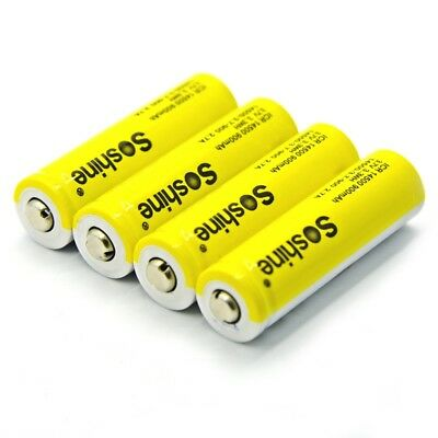 2X(Soshine 4pcs 14500 AA Li-ion Battery without Protected 3.7V 900mAh Rech A3H8)