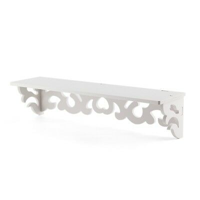 Set of 2 White Shabby Chic Filigree Style Shelves Cut Out Design Wall Shelf V8I9