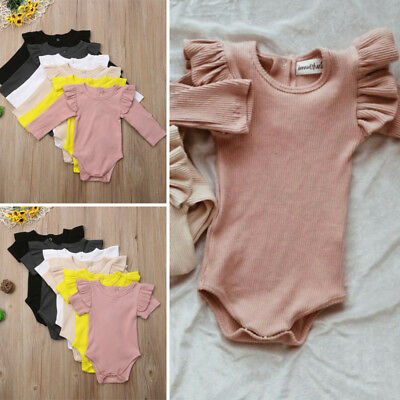 Newborn Kids Baby Girls Top Romper Jumpsuit Bodysuit Outfits Solid Clothes AU