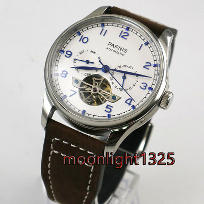 new 43mm Parnis Power Reserve white Dial Seagull Automatic Men's Watch p011A