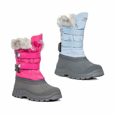 Trespass  Stroma II Girls Waterproof Snow Boots Insulated Grey Shoes with Fur