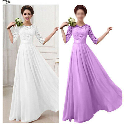 UK Women Long Lace Maxi Ball Gown Formal Wedding Evening Party Bridesmaid Dress