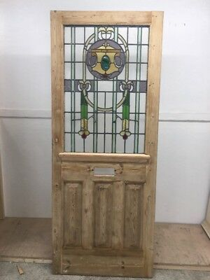 Victorian Stained Glass Front Door Period Old Reclaimed Antique Lead Pine Wood S