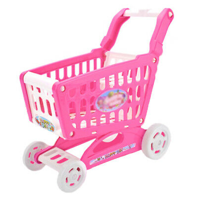 Blue/Pink Plastic Kids Shopping Hand Trolley Cart Children Pretend Role Play Toy