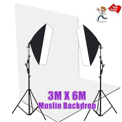 2X135W Photography Studio Continuous Lighting Softbox Light  Screen Stand Kit AU