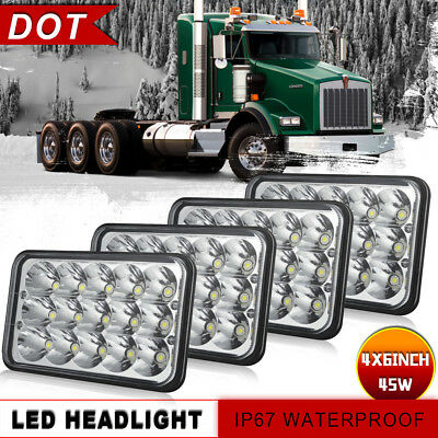 4x LED Headlights Sealed Led for Kenworth T600 T800 W900L W900B Classic 120/132