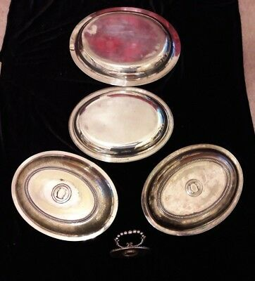 4 Silver-Plated Entree Dishes Serving Bowl Oval Covered Lidded detachable handle