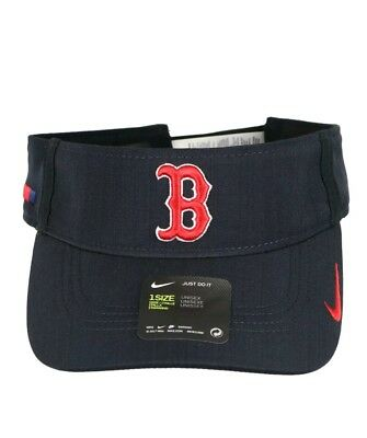 first rate 9f91d f5f2a NWT NIKE Boston Red Sox AeroBill Vapor Visor One Size Navy Blue Red Hat Cap  MLB