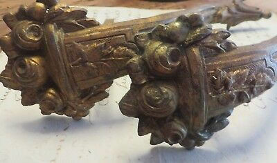 Pair Of Superb Antique French Roses Brass Curtain Pole Supports / Brackets ~