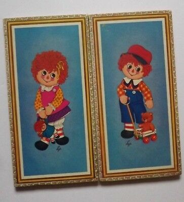 Vintage Cork RAGGEDY ANN & ANDY Wall Plaques By Lyn Award Winners
