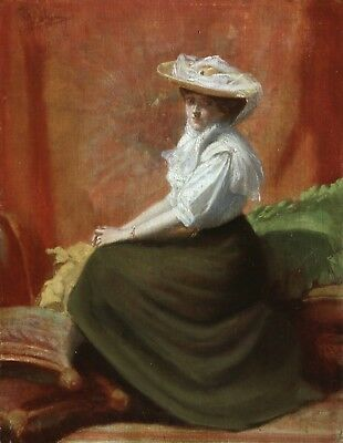 19th CENTURY FRENCH IMPRESSIONIST OIL - PORTRAIT OF LADY - INDISTINCTLY SIGNED