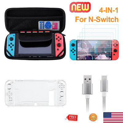 4 in 1 7pc Accessories Kit For Nintendo Switch Bundle kit w/ CarryCase Cable