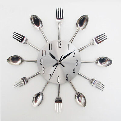 Stainless Steel Cutlery Kitchen Utensil Wall Clock Spoon Fork Clock Home Decor R