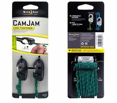 Nite Ize Cam Jam Cord Tightener Black Small 2-Pack with12ft Reflective Cord NCJS
