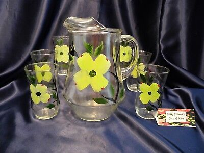 Dixie Dogwood by Joni 32 Oz Glassware Pitcher with Six Tumblers