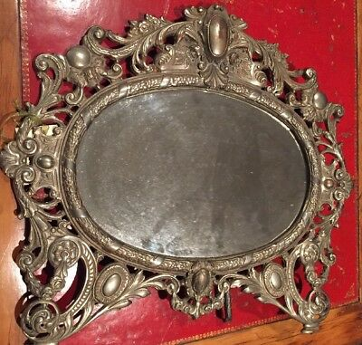 Antique Bradley & Hubbard Ornate SILVER Plate Vanity Mirror Scroll Victorian WOW