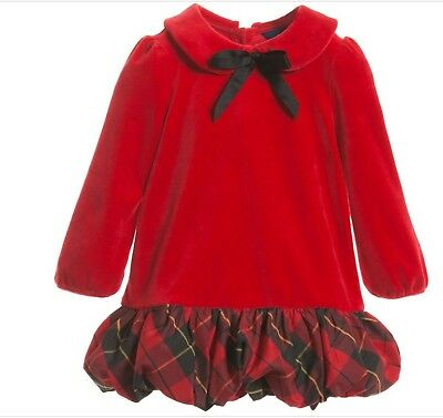 ead326efc369 Ralph Lauren Baby Girl Red Velour Holiday Plaid Bubble Dress/Bloomer NWT