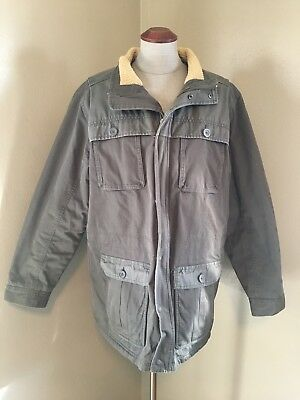 L.L. Bean Men L TALL Gray Canvas Fleece Lined Thinsulate Insulated Jacket Coat