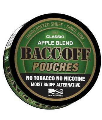 BACC-OFF Non-Tobacco Nicotine Free Herbal Snuff - Apple Pouches - 5 Cans
