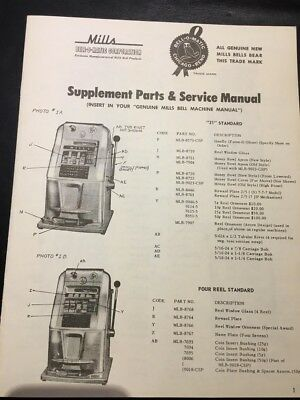 Mills Bell Supplement Parts And Slot Machine Service Manual