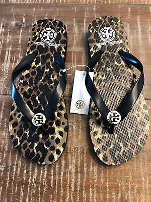 54309991be2728 100 % AUTHENTIC BRAND NEW TORY BURCH THIN FLIP FLOP Black   White RUBBER