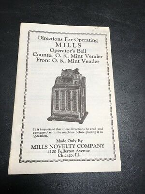 Slot Machine Mills Operator's Bell & Counter/front O.k. Mint Venders Manual