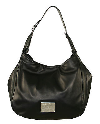 Ralph Lauren Purple Label Black Leather Nappa Stirrup Hobo Bag New