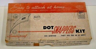 Vintage Dritz Dot Snappers Kit #650 with Snaps & Instructions in original box
