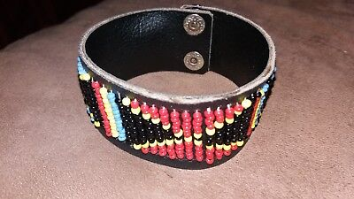 Indian Bead leather snap Braclet