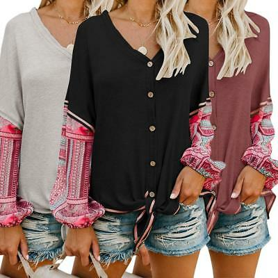 Women Piecing Long Sleeve V Neck Blouse Loose Causal Cardigan Button Shirts Tops