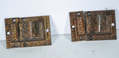 Vintage Cupboard Latches Locks Fancy Cast Iron Victorian Eastlake Set of 2