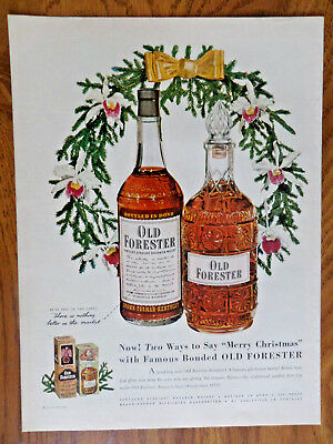 1950 Old Forester Whiskey Ad Two ways to Say Merry Christmas