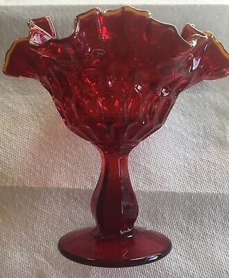 Fenton Ruby Red Glass Double Crimp Thumbprint Gold Crest Compote Candy Dish Tag