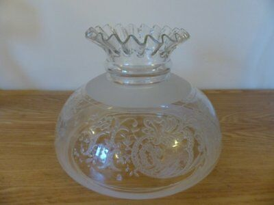 Decorative Edwardian Cut & Embossed Glass Hanging Oil Lamp Shade