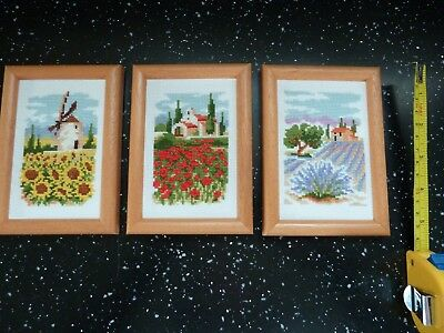 3 x Lovely Framed Needlepoint Tapestry small French Scenes Flowers lavender set