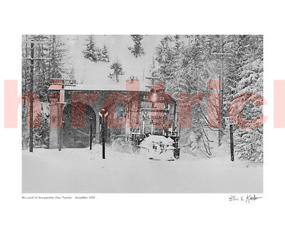 "Milwaukee Road ""Blizzard at Snoqualmie Pass, 1978,"" 16X20"" print by Kooistra"