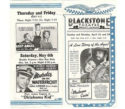 """1943 Blackstone Theatre Brochure Dwight Ill. Featuring """"Madame Curie"""" and others"""