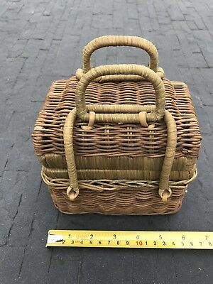 Wicker Sewing Basket Floss And Tools