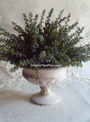 Metal Urn Planter and BLUE Faux Heather Garden Chippy Cottage French Country