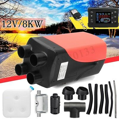 12V 8KW LCD Monitor Diesel Air Heater 4 Holes Silencer F/ Truck Boat Car Trailer