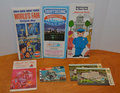Vintage 1964 1965 New York World's Fair Souvenir Collectible Lot Maps & Postcard