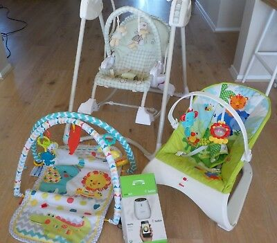 Baby Swing, Chair,  Play Mat and Baby Monitor - used but in excellent condition